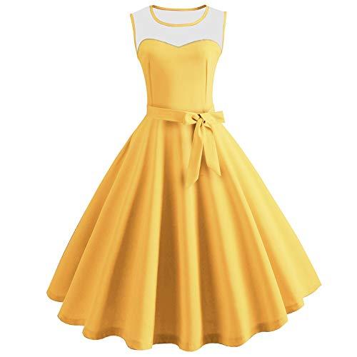 KCatsy Hepburn Vintage Series Women Dress Spring and Summer Grenadine Stitching Design Sleeveless Belt Retro Corset Dress Yellow -
