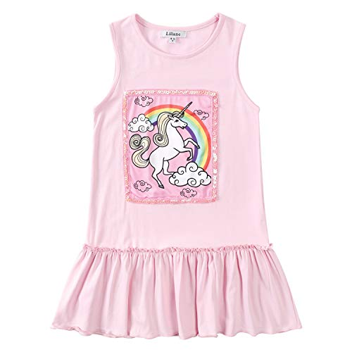 Liliane Pink Dresses for Girls Pink Cotton Dress Unicorn 5t Dress A141-45Y ()