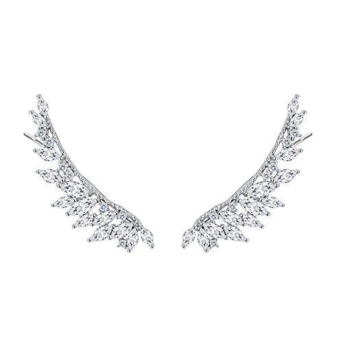 (FANZE Women's 925 Sterling Silver CZ Irregular Wings of Angel Elegant Sweep Up Ear Pin Crawler Wrap Climber Earrings)