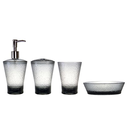 MARCUS HOME Ronda 4-Piece Acrylic Plastic Bathroom Accessory Set, Includes Soap Dish, Toothbrush Holder, Round Tumbler and Dispenser/Black