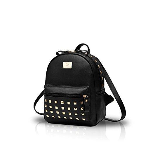 Nicole&Doris HombroLos nuevos bolsos de escuela Mochila los bolsos de las mujeres del recorrido del bolso de la taleguilla metal del cuero de la PU Black