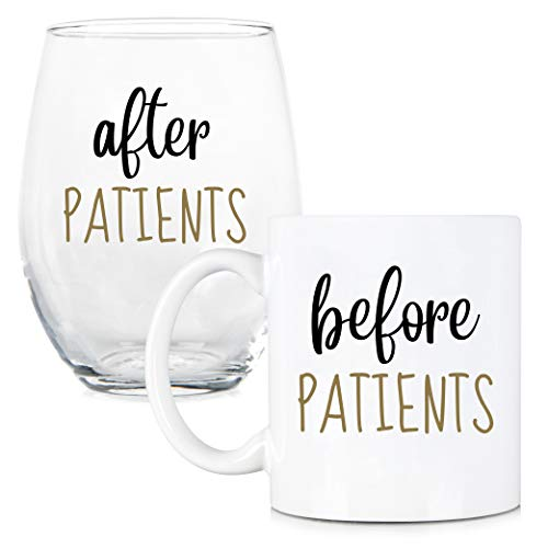 Before Patients, After Patients 11 oz Coffee Mug and 15 oz Stemless Wine Glass Set - Unique Gift Idea for Dentist, Dental, Medical, Hygienist, Doctor, Physician, Nurse - Perfect Graduation -