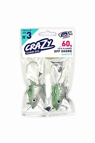Fiiish Crazy Sand Eel 220 2 Pearl Green Jig Heads - Off Shore 60g by Fiiish Crazy (Sand Eel Green)