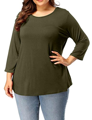 Jack David Famous Women's Plus Size T-Shirt Scoop Neck Bamboo Top Casual Soft Loose Fit 1X 2X 3X (3X, Olive Green)