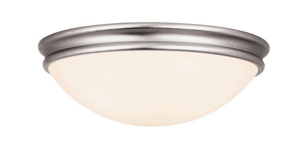 Atom - 3-Light 14'' Flush Mount - Brushed Steel Finish - Opal Glass Shade