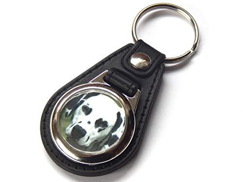(Dalmatian Dog Quality Leather and Chrome Keychain)