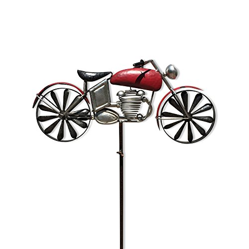 (WHW Whole House Worlds Americana Motorcycle Garden Spinner, Vintage Style Stake Decoration, Rustic Red with Antiqued Finish, Over 5 Ft Tall (63 Inches - 160 cm))