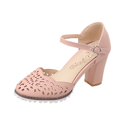 Charm Foot Womens Hollow Out Chunky Heel Mary Jane Pumps Shoes Pink 9oXOpVVi