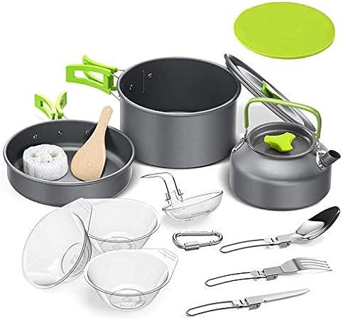 Tokmali Utensilios Cocina Camping, 14PCS Camping Kit de Portátil y Liviano Acero Inoxidable Ollas y Sartenes para ...