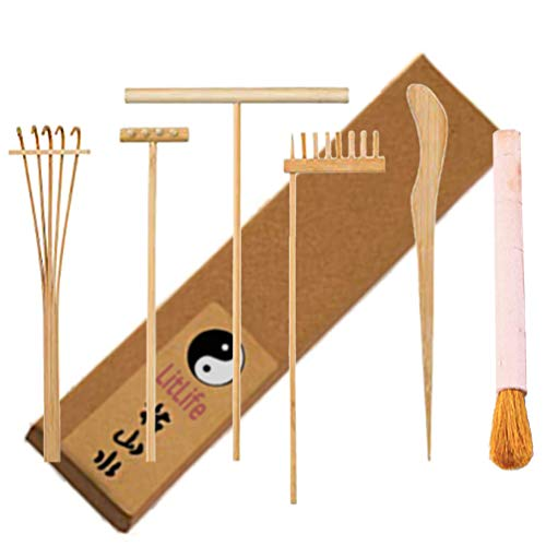 LitLife Zen Garden Tool Rake Set of 6 Mini Play Sand Garden Kit for Desk - Desktop Zen Garden Accessories, Cleaning Brush, Pushing and Drawing Pen, Toy Landscape Rakes - Rake Set