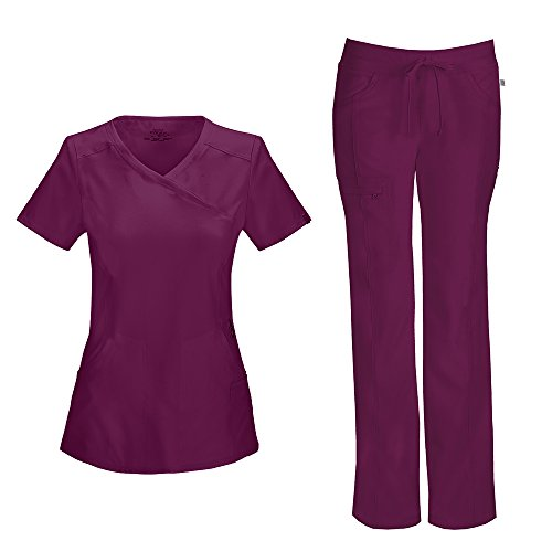 Cherokee Infinity Women's Mock Wrap Scrub Top 2625A & Low Rise Drawstring Scrub Pants 1123A Scrubs Set (Certainty Antimicrobial) (Wine - -