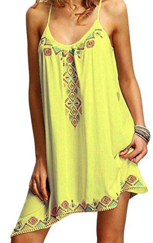 Yellow Spaghetti Womens Irregular Casual Dress Swing Tie Strap Pleated Floral Cromoncent Print UgRqSxww
