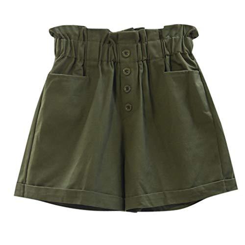 Creazrise Womens Pants Elasticated High Waist Breasted Button Pocket Shorts Loose Thin Wide Leg Pants Army Green