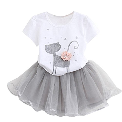 Rosiest Summer Kids Girls Fashion Cartoon Little Kitten Printed Shirt Dress Clothes Set (5T, White)