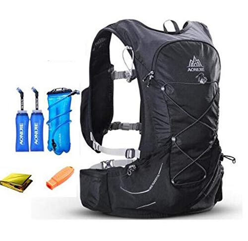 POJNGSN 15L Outdoor Light Weight Hydration Backpack Rucksack Bag Free 3L Water Bladder for Hiking Ultra Running Race Set Black 1 by POJNGSN (Image #2)
