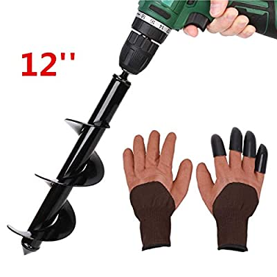 """Auger Drill Bit, Non-Slip -3"""" x 12"""" Garden Plant Flower Bulb HEX Shaft, Earth Auger Bit, Post or Umbrella Hole Digger for 3/8"""" Hex Drive Drill with Garden Gloves"""