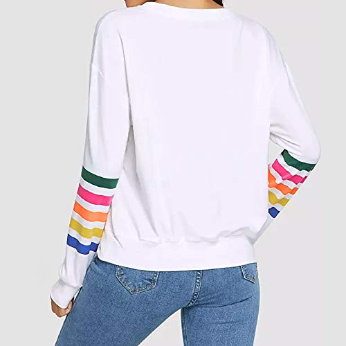 Kemilove Women Round Neck Simple Color Casual Long Sleeve Stripe Print Pullover Blouse Shirts Sweatshirt by Kemilove (Image #4)