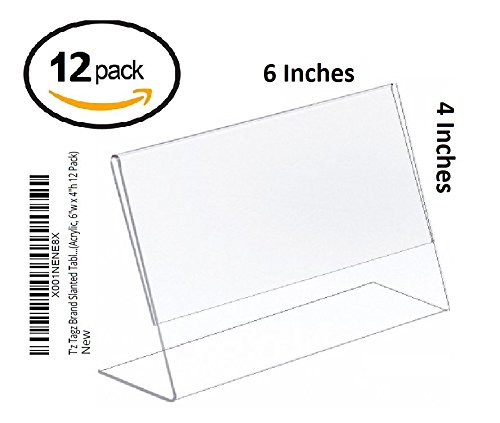 T'z Tagz FNSKU: X001NENE8X Slanted Tabletop Clear Acrylic Picture Frame Sign Holders (Acrylic, 6