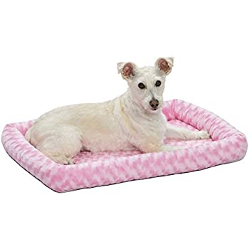 30L- Inch Pink Dog Bed or Cat Bed w/ Comfortable Bolster | Ideal for Medium Dog Breeds & Fits a 30-Inch Dog Crate | Easy Maintenance Machine Wash & Dry ...