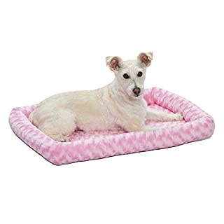 30L- Inch Pink Dog Bed or Cat Bed w/ Comfortable Bolster | Ideal for Medium Dog Breeds & Fits a 30-Inch Dog Crate | Easy Maintenance Machine Wash & Dry | 1-Year Warranty