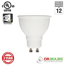 Dr. Bulbs™ -Pack of 12- 5W (50W Equivalent) MR16 GU10 Base Dimmable LED Spot Light Bulb, CRI 80, 40° Beam Angle, 450 lumen, UL & CUL Listed, Natural White 4000K from Canada