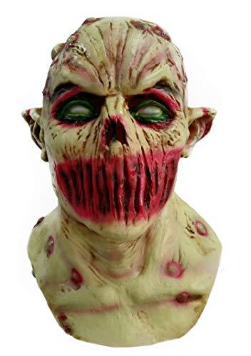 ZhangHD Walking Dead Full Head Mask, Resident Evil Monster Mask, Zombie Costume Party Rubber Latex Mask for Halloween (Walking Dead B)]()