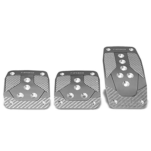 NRG PDL-400GM Brake/Gas/Clutch Manual MT Sport Race Foot Pedal Plates Cover Set (Gunmetal w/Silver Carbon Fiber ()