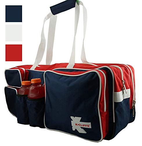 (K-Cliffs Red White Blue Tennis Racket Bag | Deluxe Ballistic Nylon | Shoe Compartment)