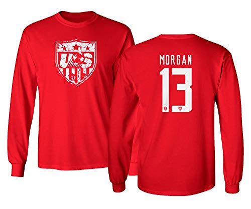 pretty nice 559b8 16dd1 TURXIN New Soccer Shirt America USA National Team #13 Alex Morgan Boys  Girls Youth Long Sleeve T-Shirt (Red, Youth X-Large)