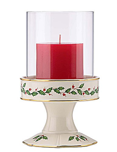 Lenox Holiday Pillar Candle Holder with Glass Shade by Lenox
