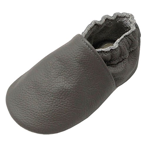 Yang Baby Boys Girls Shoes Crawling Slipper Toddler Infant Soft Leather First Walking Moccs(Grey,24-36 Months)