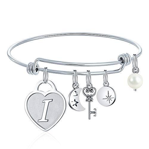 M MOOHAM Birthday Gifts for Girls Bracelet - Heart Charm Engraved Letter I Initial Bracelet Stainless Steel Charms Bracelets Birthday Jewelry Gifts for Women Daughter Granddaughter Teen Girls (Charm Bracelet For Child)