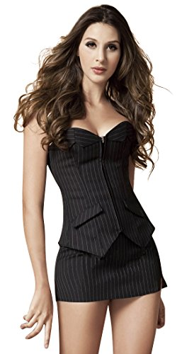 Black Pinstripe Skirt Suit (Charmian Women's Plus Size Fashion Pinstripe Business Casual Overbust Corset With Skrit Black XX-Large)