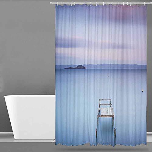 XXANS Waterproof Bathtub Curtain,Landscape,Waterproof Colorful Funny,W36x72L Baby Blue Lilac