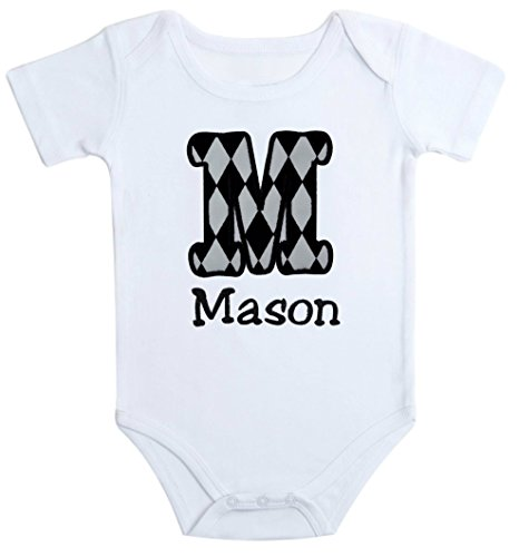 - Embroidered Initial Onesie Bodysuit for Baby Boys - Your Custom Name! (3-6 Months, Black & White)