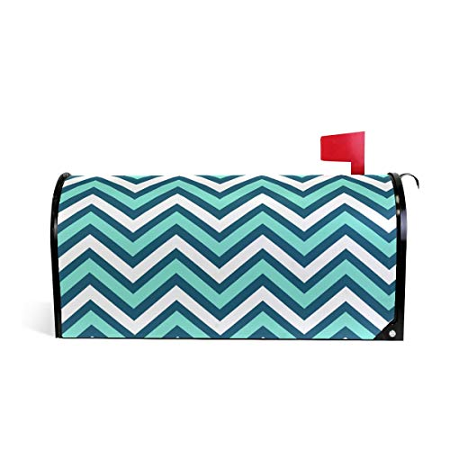 Blue and White Chevron Print Mailbox Covers Magnetic Standard Size Mail Boxes Makeover Mail Wraps Cover Letter Post Box