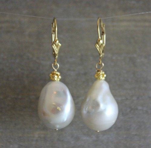 Cushion Smokey Quartz Earring - Baroque Cultured Freshwater Pearl Drop Leverback Earrings in 14kt Gold Filled 24