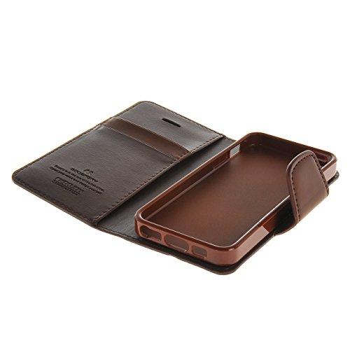 MOONCASE Case für iPhone 5G / 5S Leder Tasche Flip Schutzhülle Etui Cover Hülle Schale Kaffee