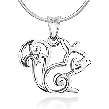 Amazon 925 sterling silver open squirrel pendant necklace 925 sterling silver open squirrel pendant necklace italian sterling silver snake chain 18 inches aloadofball Image collections
