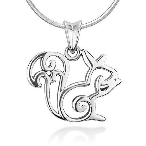 925 Sterling Silver Open Squirrel Pendant Necklace Italian Sterling Silver Snake Chain 18 inches