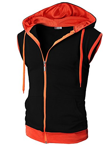 H2H Mens Fashion-Conscious Color Block Hoodie Zip-up for Work Out BLACKORANGE US M/Asia L (JNSK31)