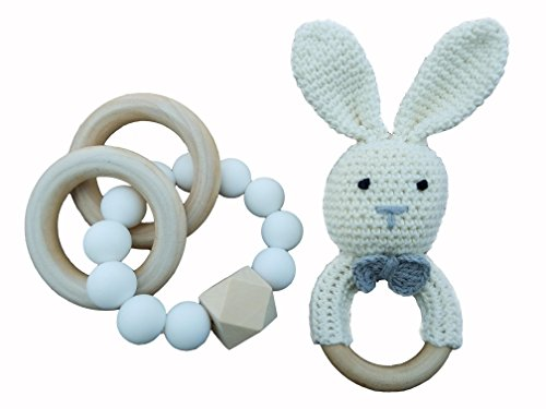 Mali Wear Natural Wooden Baby Teething relief Toys- 2 pk Cotton Crochet Bunny and Teething Bracelet, Unisex baby Shower gift (white bunny silicone bracelet)