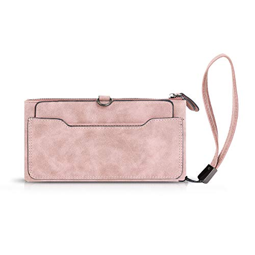 (Gessy Wristlet Purses for Women Wallet Leather Bifold Wristlet Clutch Ladies Vintage Purse Card Holder Organizer RFID Blocking Casual Lightweight Shopping Boutique Light Pink)