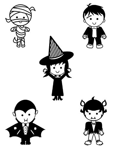 Gifts Delight Laminated 24x32 inches Poster: Halloween Line Art Clipart Set Mummy Frankenstein Witch Vampire Werewolf Little Cute Character -