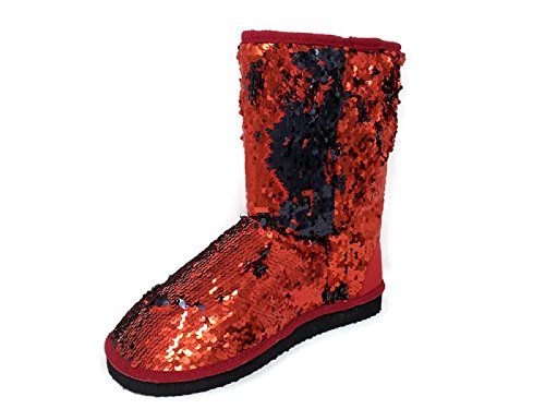 Women's Sparkles Red/Black Mid Calf Dual Shaded Color Sequin Winter Boots Booties Shoes (6) (Women Winter Sequin Boots For)