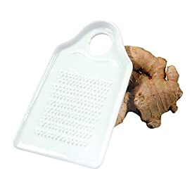 Fox Run 6210 Porcelain Ginger Grater, 5.5 x 3.25 x 0.1 inches, White 6 5.5 x 3.25 inch Made of white, glazed porcelain Sharp, raised teeth extract ginger pulp while leaving behind fiber