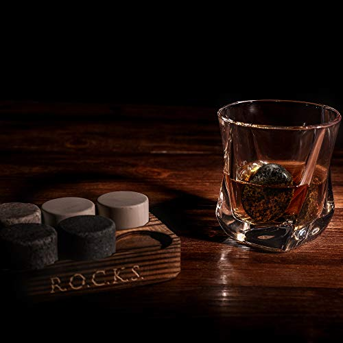 Whiskey Chilling Stones Gift Set - 6 Handcrafted Premium Granite Round Sipping Rocks - 2 Crystal Superior Glasses - Hardwood Presentation & Storage Tray - Elegant Gold Foil Gift Box by R.O.C.K.S. by ROCKS WHISKEY CHILLING STONES (Image #5)