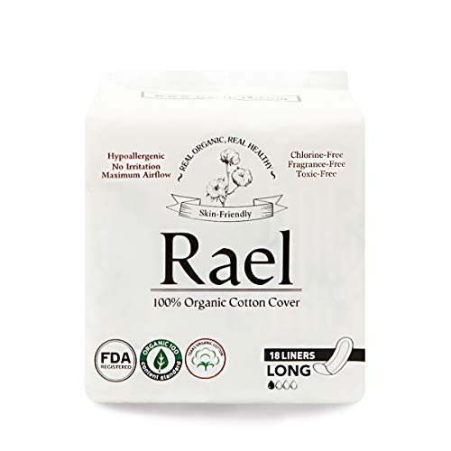 Rael Certified Organic Cotton, Unscented, Natural Daily Panty-Liners, Long, Pack of 2 (36 Count)
