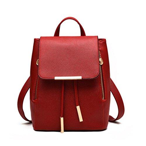 XibeiTrade - Bolso mochila  de Material Sintético para mujer rojo vino