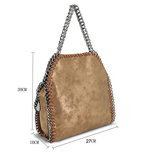 Handbag Bag Metallic Strap Designer Style Stella Crossbody Mini Womens Fashion Shoulder Brown Bazaar Chain qgapwgH8